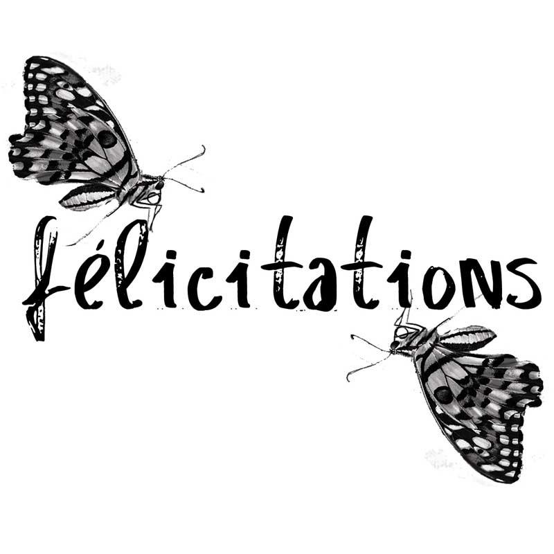 "Carte message papillons "" Félicitations"""